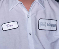 Custom embroidery emblems heat press transfer for Employee shirts embroidered logo